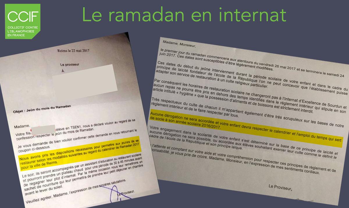 Le Ramadan En Internat Ccif Collectif Contre L Islamophobie En